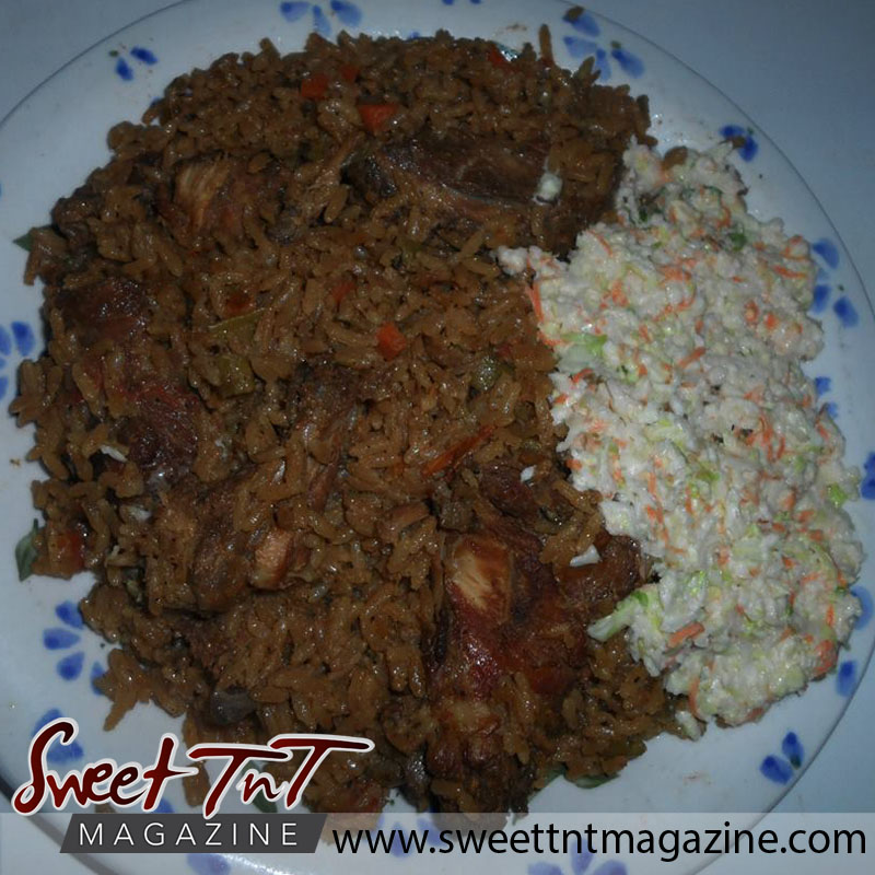 Pigeon Peas Pelau and coleslaw