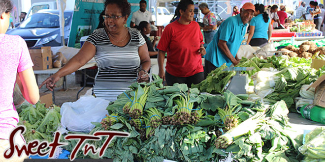 Woman wearing striped top pointing at lettuce, selling callaloo bush, dasheen bush, leafy vegetables, elderly man in blue t shirt laughing at Farmers' Market at Queen's Park Savannah, Port of Spain in parking lot in Sweet T&T, Sweet TnT, Trinidad and Tobago, Trini, vacation, travel