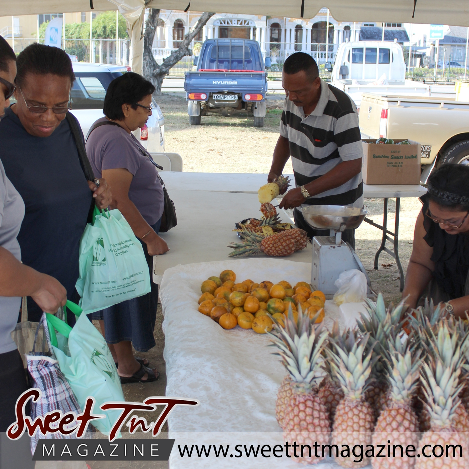 Man slices pineapples for customers next to heap of portugal, tangerine and oranges on table while customers holding green bags wait at Farmers' Market at Queen's Park Savannah, Port of Spain in parking lot in Sweet T&T, Sweet TnT, Trinidad and Tobago, Trini, vacation, travel