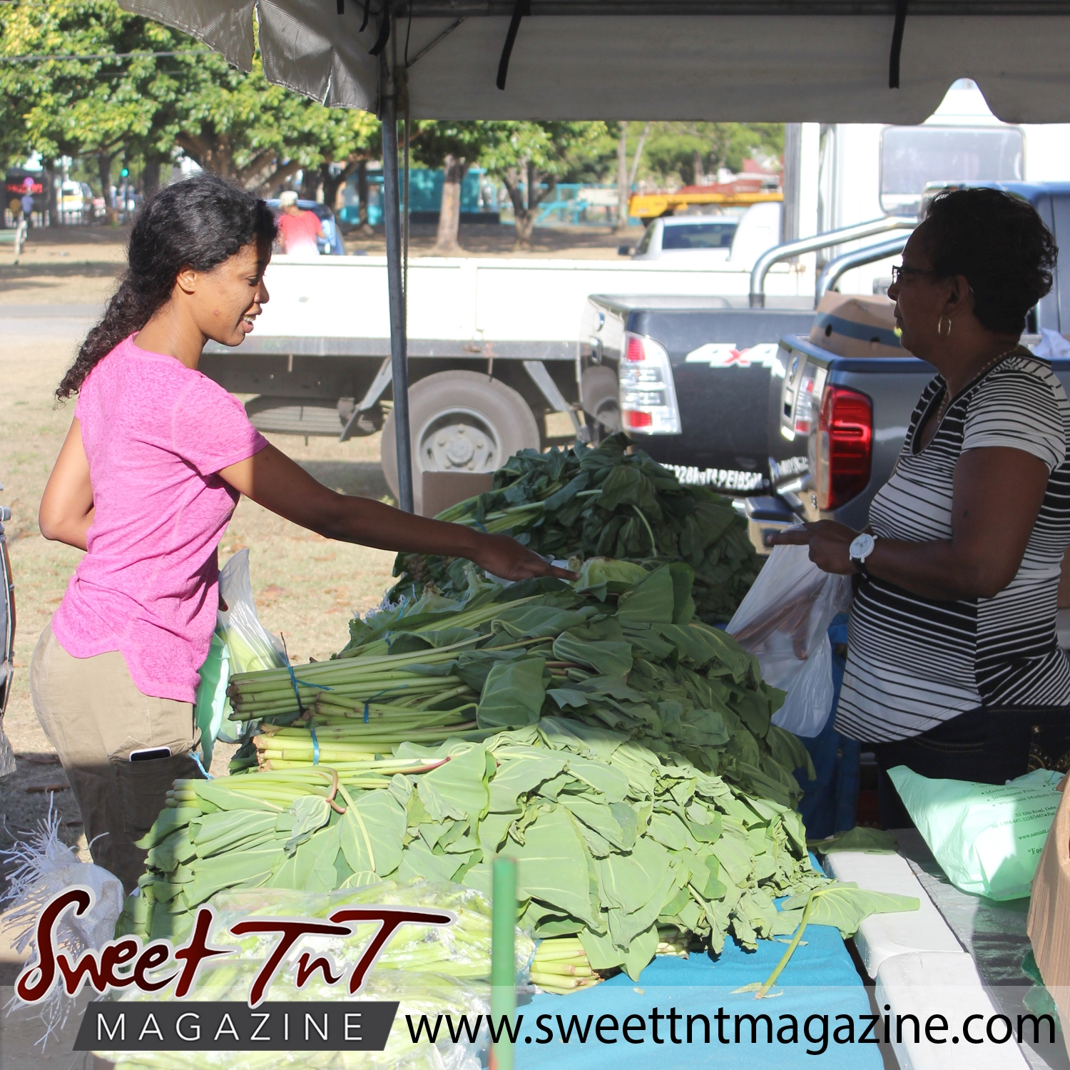Girl in pink top and khaki pants with phone in pocket points at callaloo bush, dasheen bush while vendor wearing striped top opens bag at Farmers' Market at Queen's Park Savannah, Port of Spain in parking lot in Sweet T&T, Sweet TnT, Trinidad and Tobago, Trini, vacation, travel