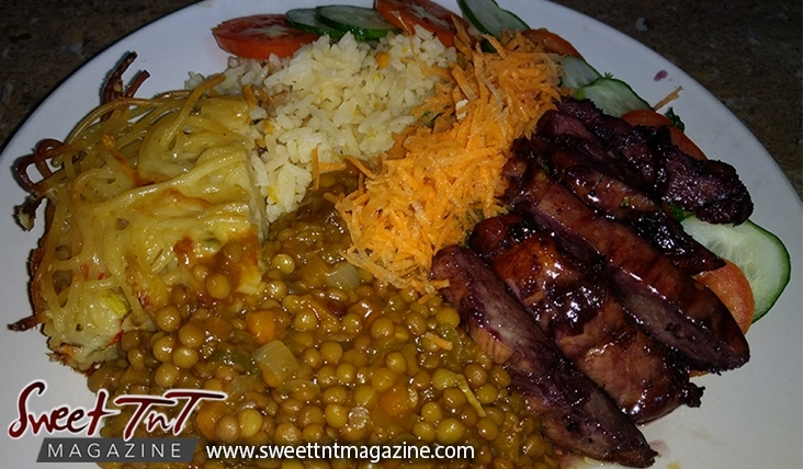 Sorrel or roselle red fruit for breakfast, lunch, macaroni pie, sorrel grilled chicken, lentil peas, carrots, tomatoes on plate for Christmas season or health benefits for cholesterol, blood pressure, bladder infections, constipation, maylase, use recipe for good taste and health benefits in in Sweet T&T, Sweet TnT, Trinidad and Tobago, Trini, vacation, travel