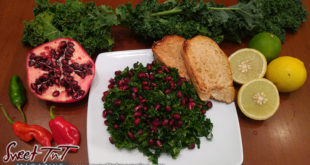 Kale and promeganate salad, peppers, limes, toasts in sweet T&T for Sweet TnT Magazine, Culturama Publishing Company, for news in Trinidad, in Port of Spain, Trinidad and Tobago, with positive how to photography.