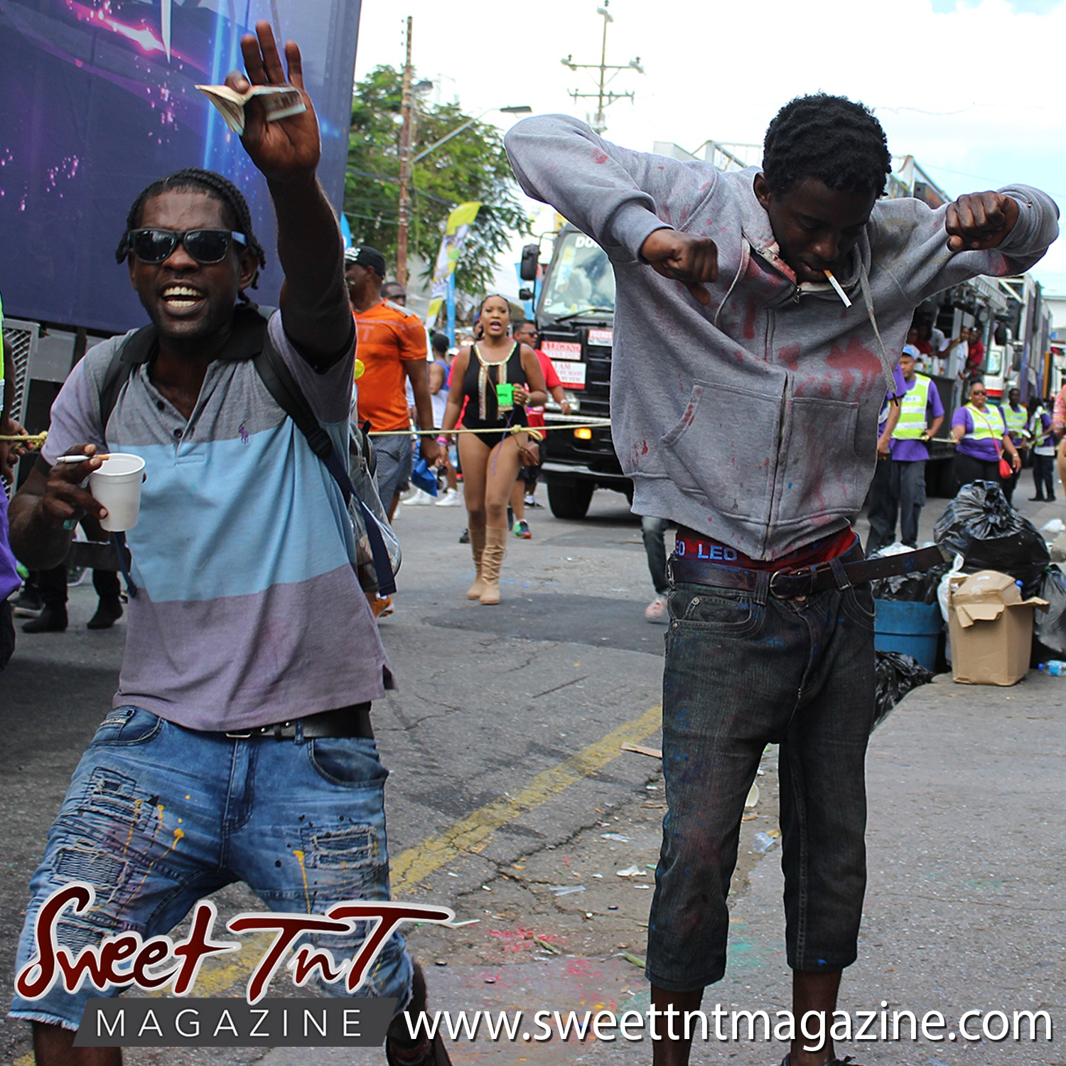 Mas men on the pavement on Ariapita Avenue, Carnival 2017 in sweet T&T for Sweet TnT Magazine, Culturama Publishing Company, for news in Trinidad, in Port of Spain, Trinidad and Tobago, with positive how to photography.