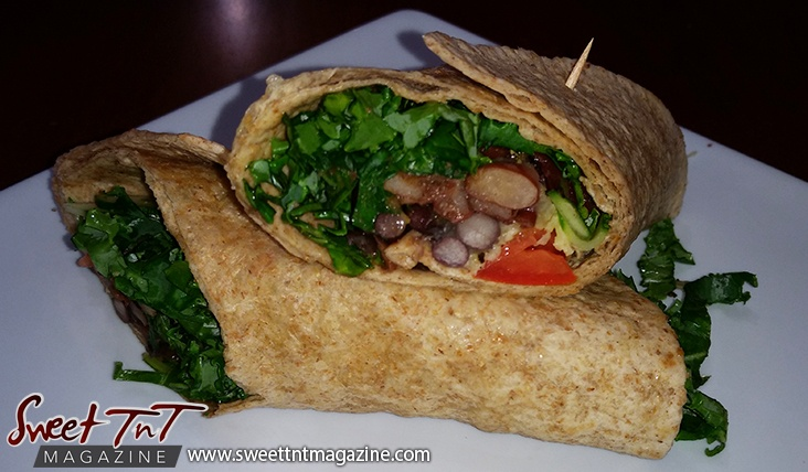 Veggie wraps on plate in sweet T&T for Sweet TnT Magazine, Culturama Publishing Company, for news in Trinidad, in Port of Spain, Trinidad and Tobago, with positive how to photography.