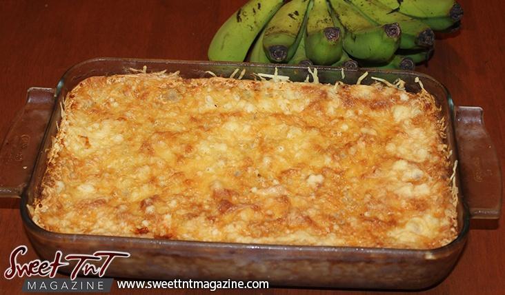 Making green banana casserole in Sweet T&T
