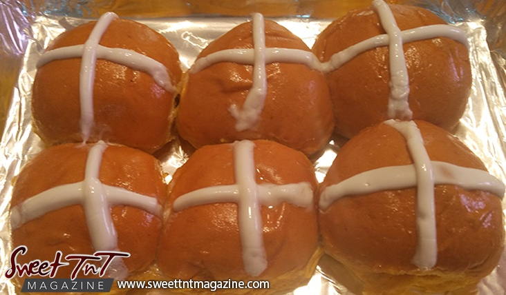 Hot cross buns fresh out the oven in Sweet TnT, Trinidad and Tobago.